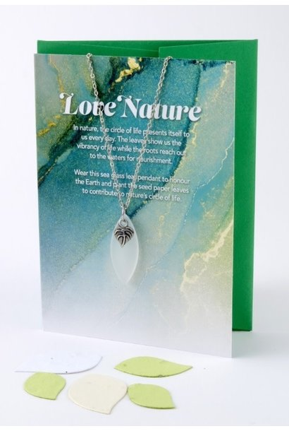 """""""Love Nature"""" Mini Greeting Card with Leaf White Sea Glass necklace"""