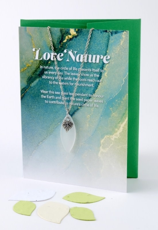 """""""Love Nature"""" Mini Greeting Card with Leaf White Sea Glass necklace-1"""