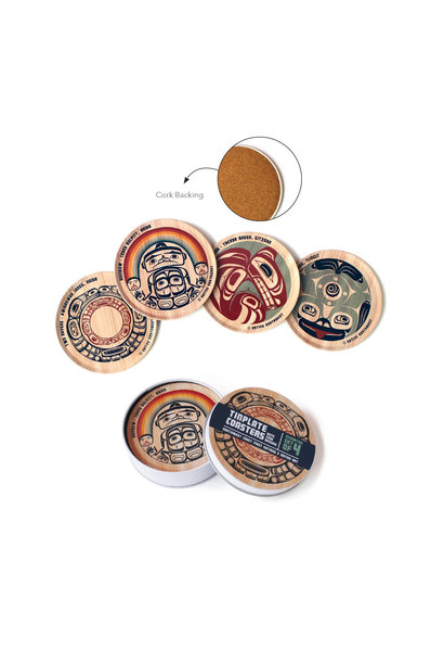 Tin Plate Coaster Set - Assorted set of 4