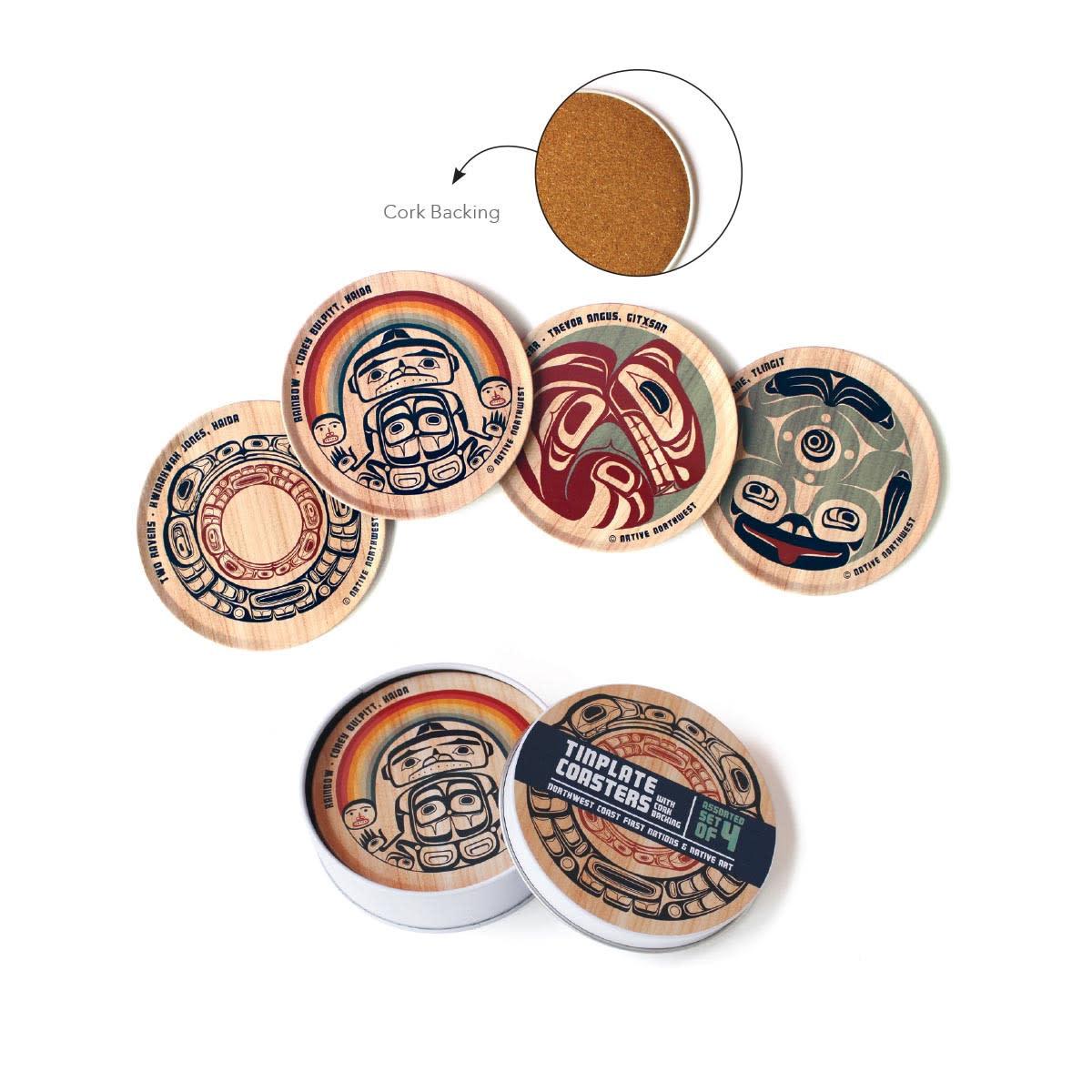 Tin Plate Coaster Set - Assorted set of 4-1