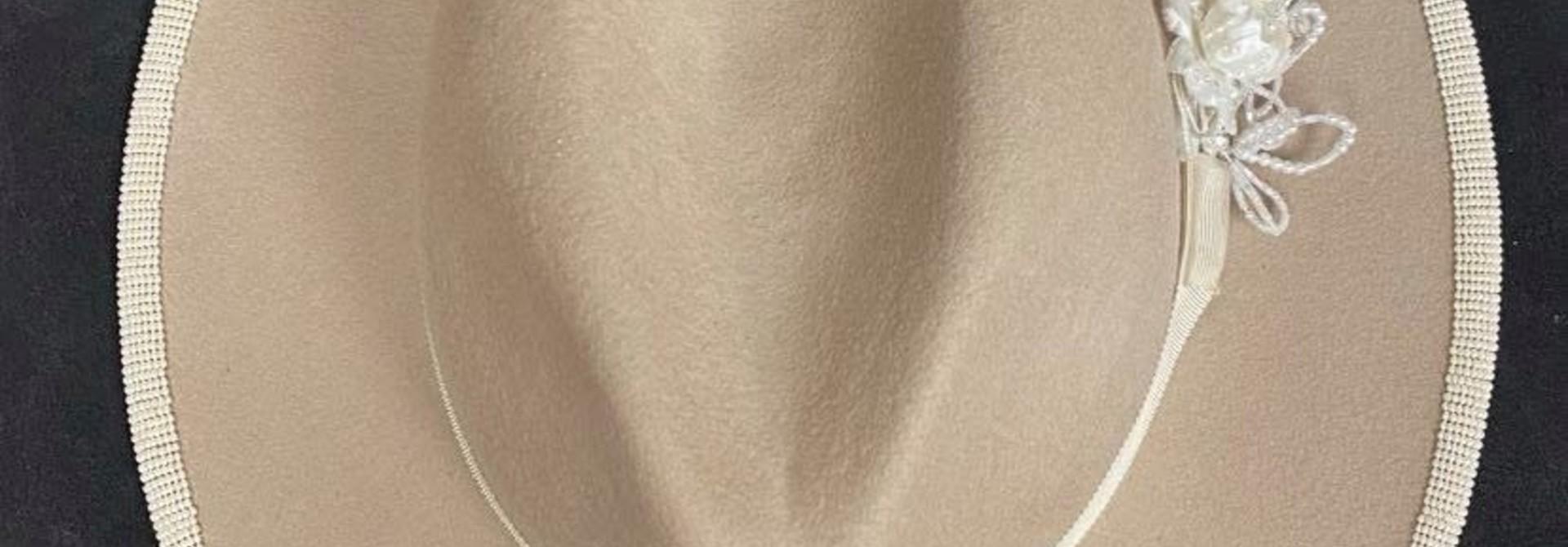 Shawnee Rene Beaded Fedora - Cream with Gold Beaded stripe