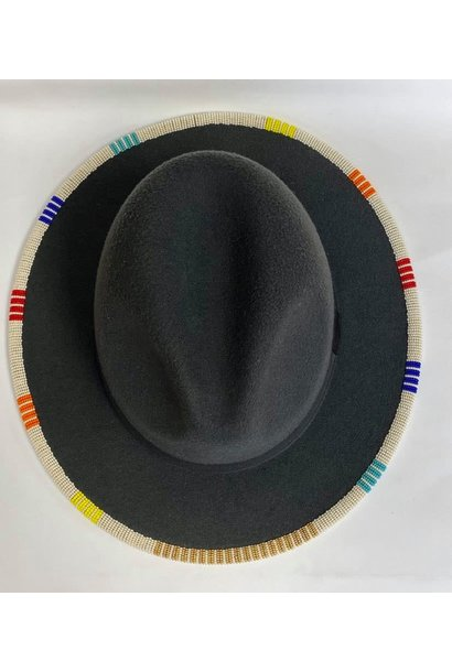 Beaded Fedora by Shawnee Rene- Charcoal with multi colored beading