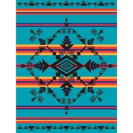 Fleece Blanket -God's Eye Turquoise-1