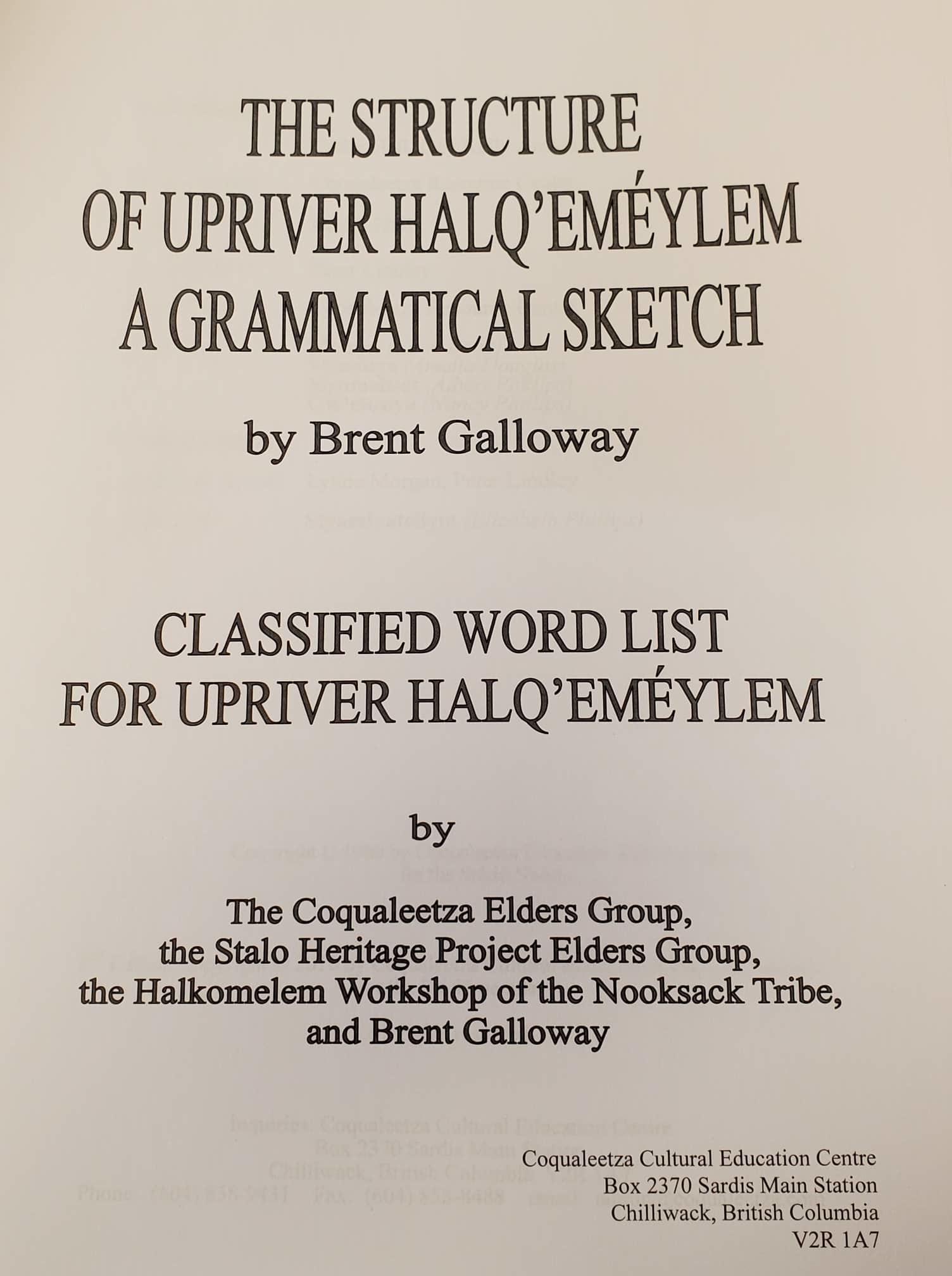 Wisdom of the Elders -Halq'emeylem Language-2