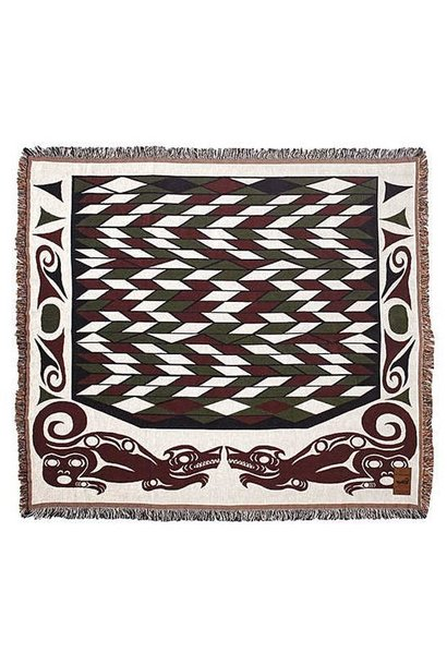 Cotton Tapestry Blanket - Wolf by Debra Sparrow