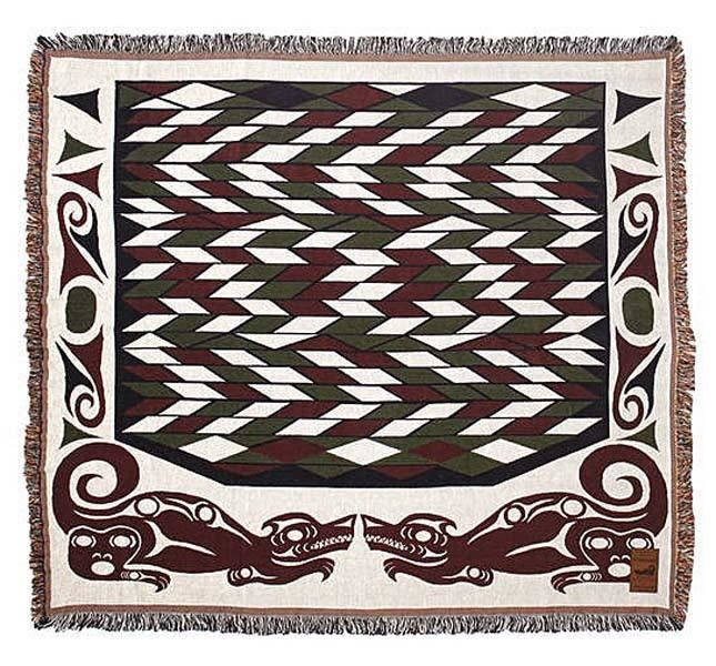 Cotton Tapestry Blanket - Wolf by Debra Sparrow-1