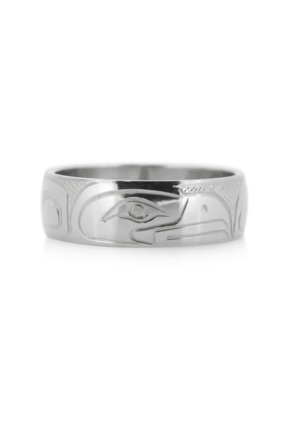 Hand Carved Silver Ring - Eagle by Travis Henry