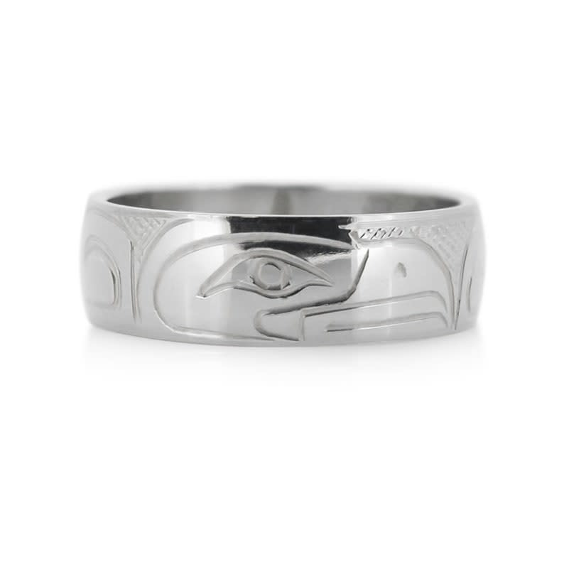 Hand Carved Silver Ring - Eagle by Travis Henry-1