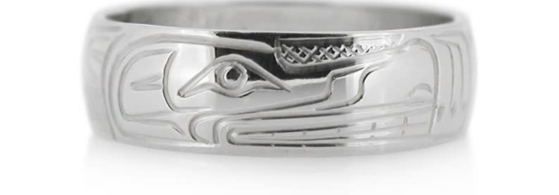 Hand Carved Silver Ring-Wolf  by Travis Henry