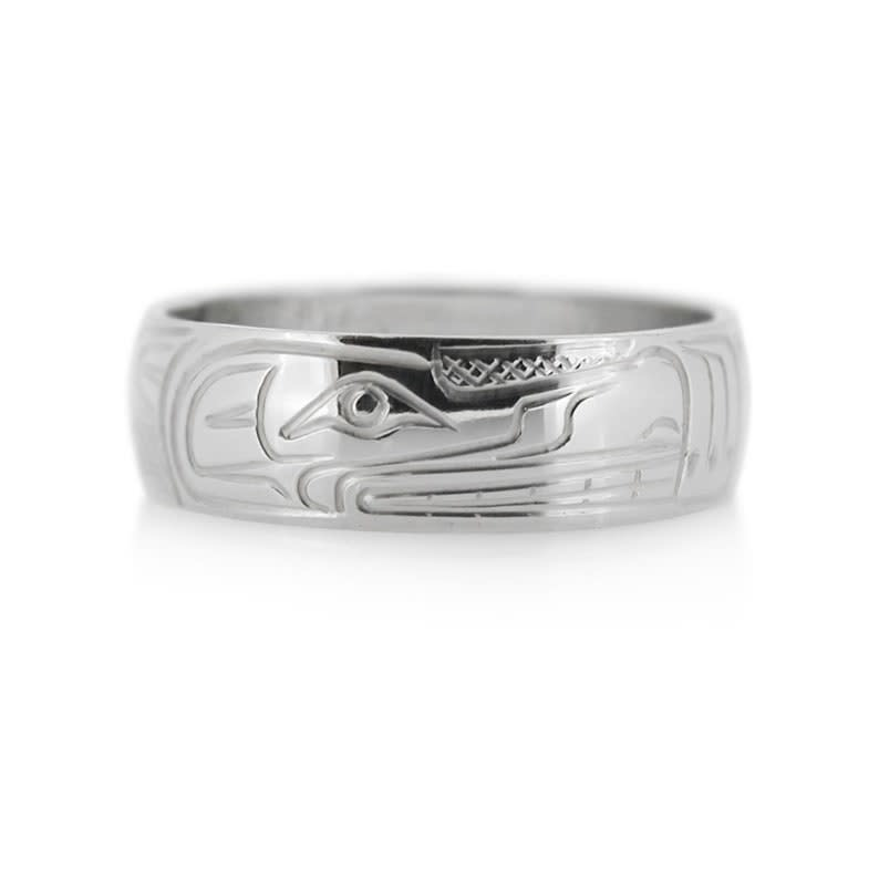 Hand Carved Silver Ring-Wolf  by Travis Henry-1