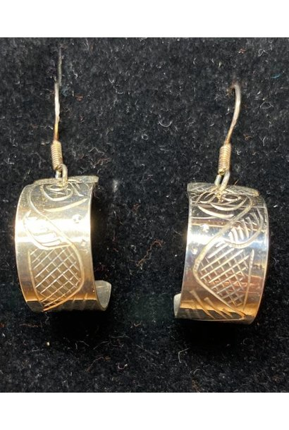Hand Carved Silver Earrings - Salmon by Travis Henry