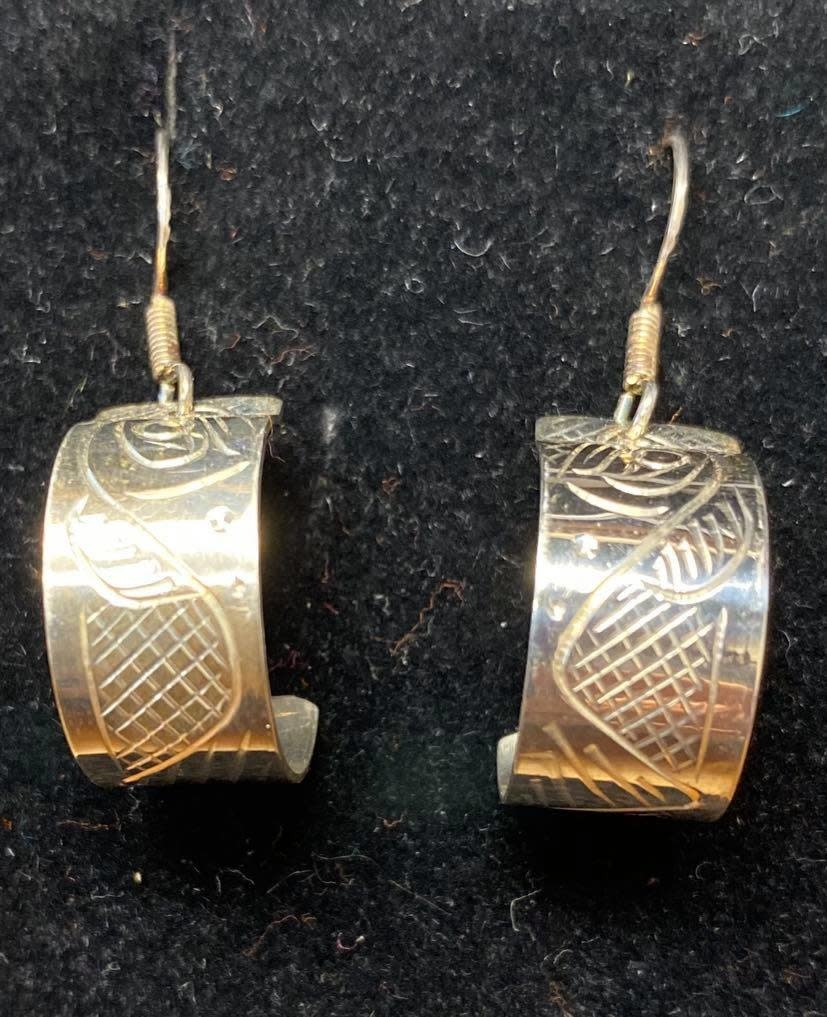 Hand Carved Silver Earrings - Salmon by Travis Henry-1