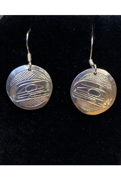 Hand Carved Silver Earrings-Orca by Travis Henry