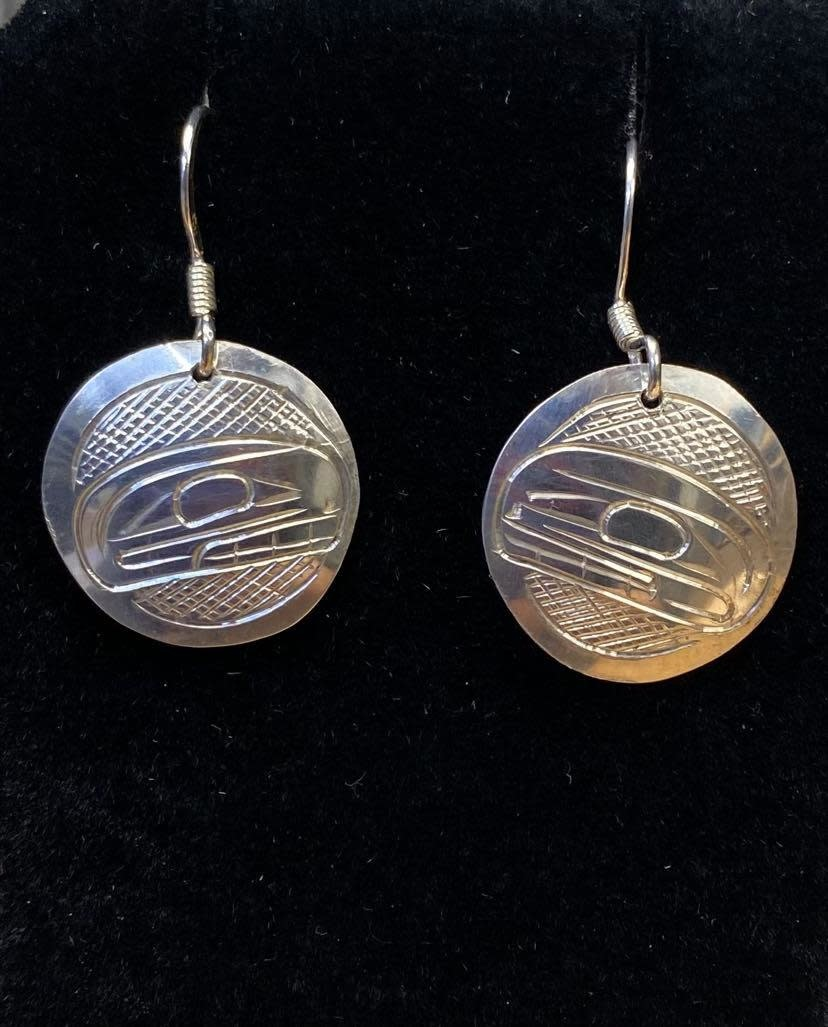 Hand Carved Silver Earrings-Orca by Travis Henry-1
