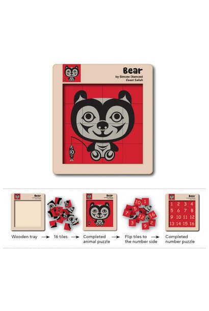 Double Sided Wooden Tile Puzzle - Bear