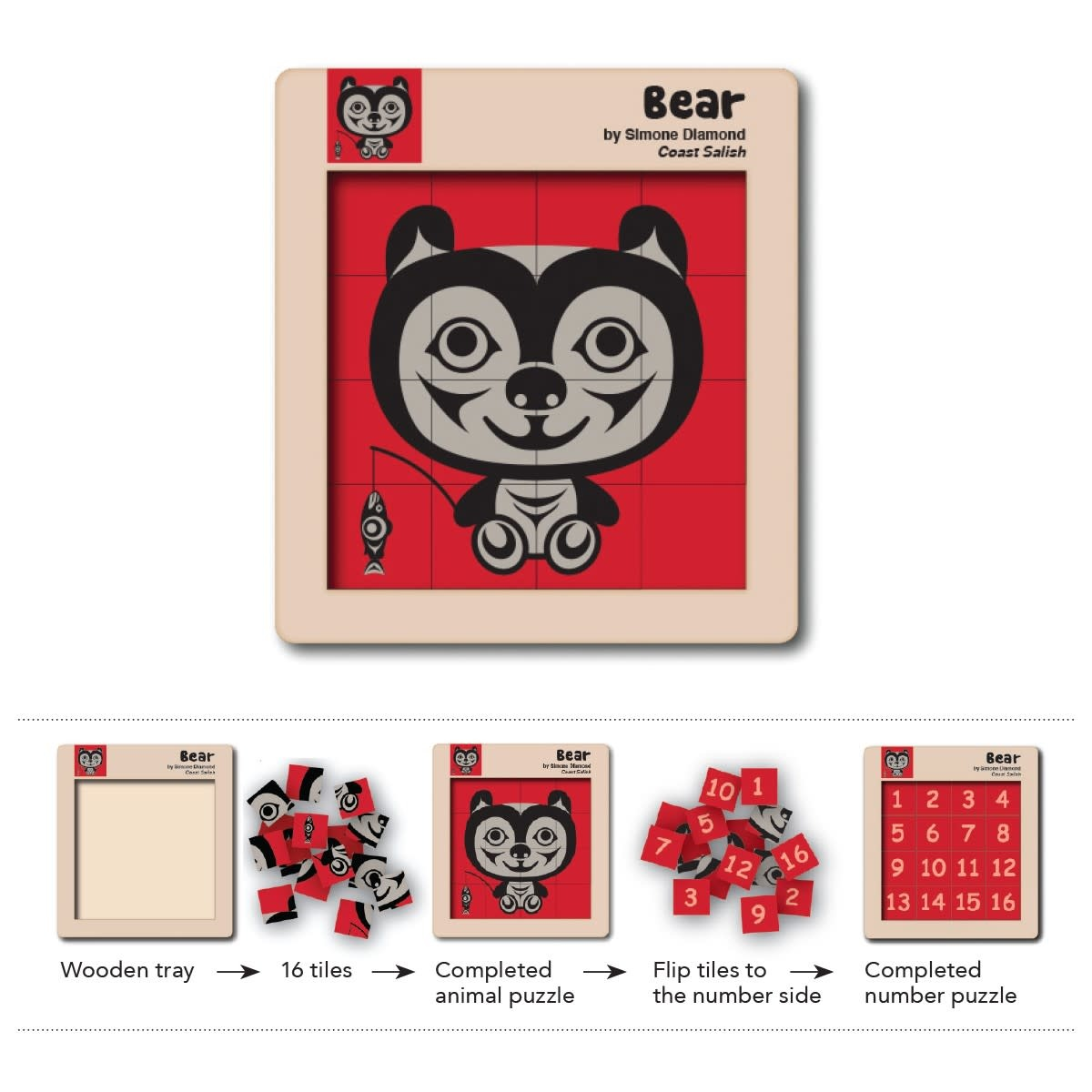 Double Sided Wooden Tile Puzzle - Bear-1