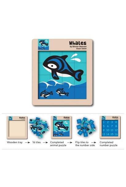 Double Sided Wooden Puzzle - Whales