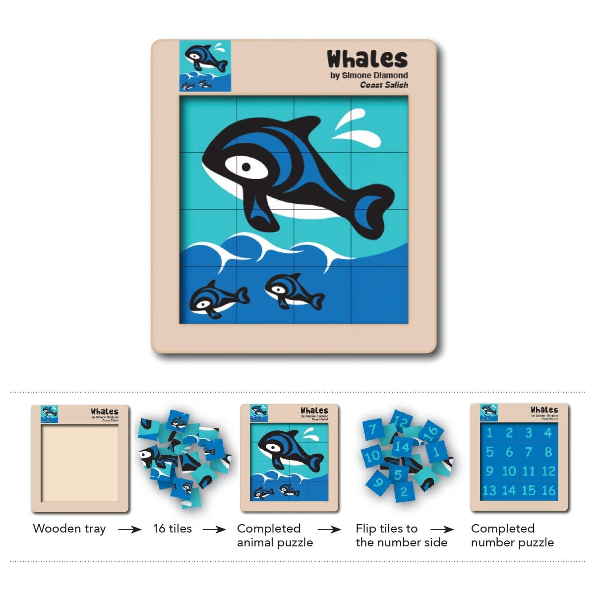 Double Sided Wooden Puzzle - Whales-1