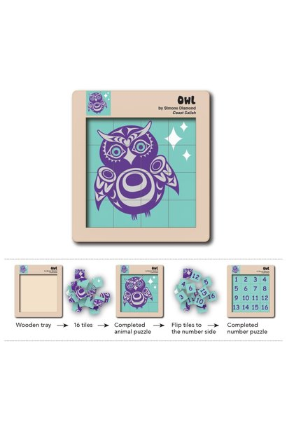 Double Sided Wooden Puzzle - Owl