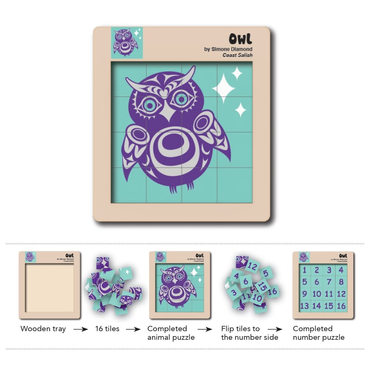 Double Sided Wooden Puzzle - Owl-1