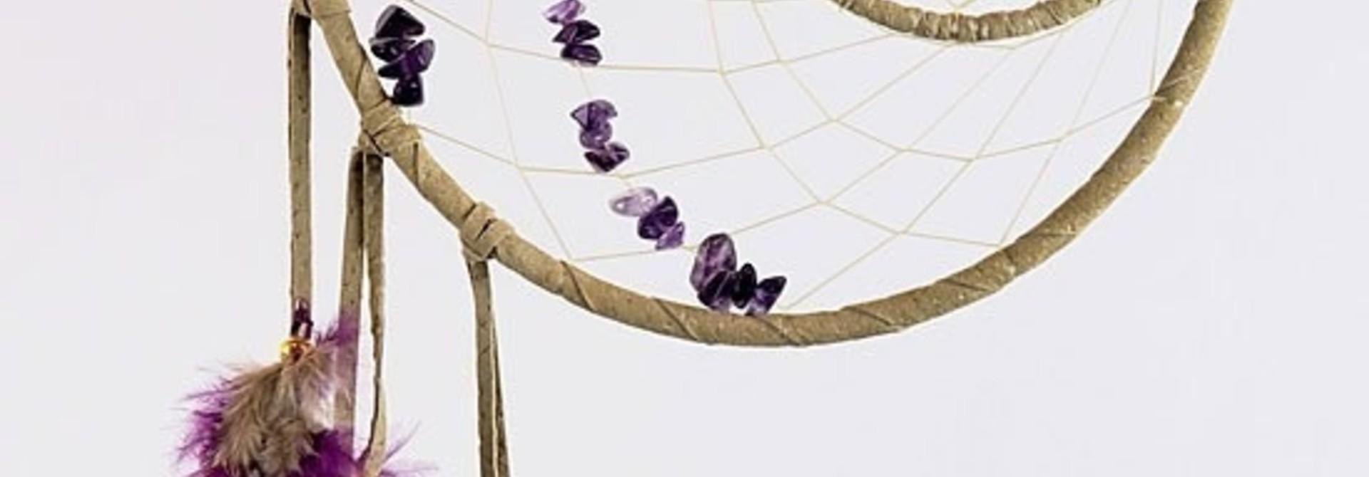 "6"" Energy flow Dream Catcher w Amethyst stones"