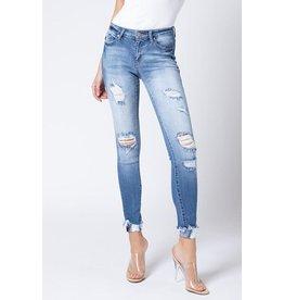 Kancan Distressed Jean - Mid Rise Skinny