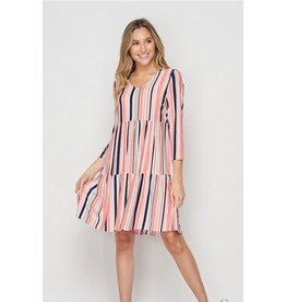 Striped 3 Tiered Dress- Coral & Navy