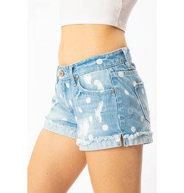 Kancan Shorts, Mid-rise Polka Dot Cuff