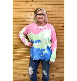 Entro Scalloped Tie Dye Sweatshirt