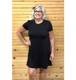 Mary Square Little Black A-Line Dress