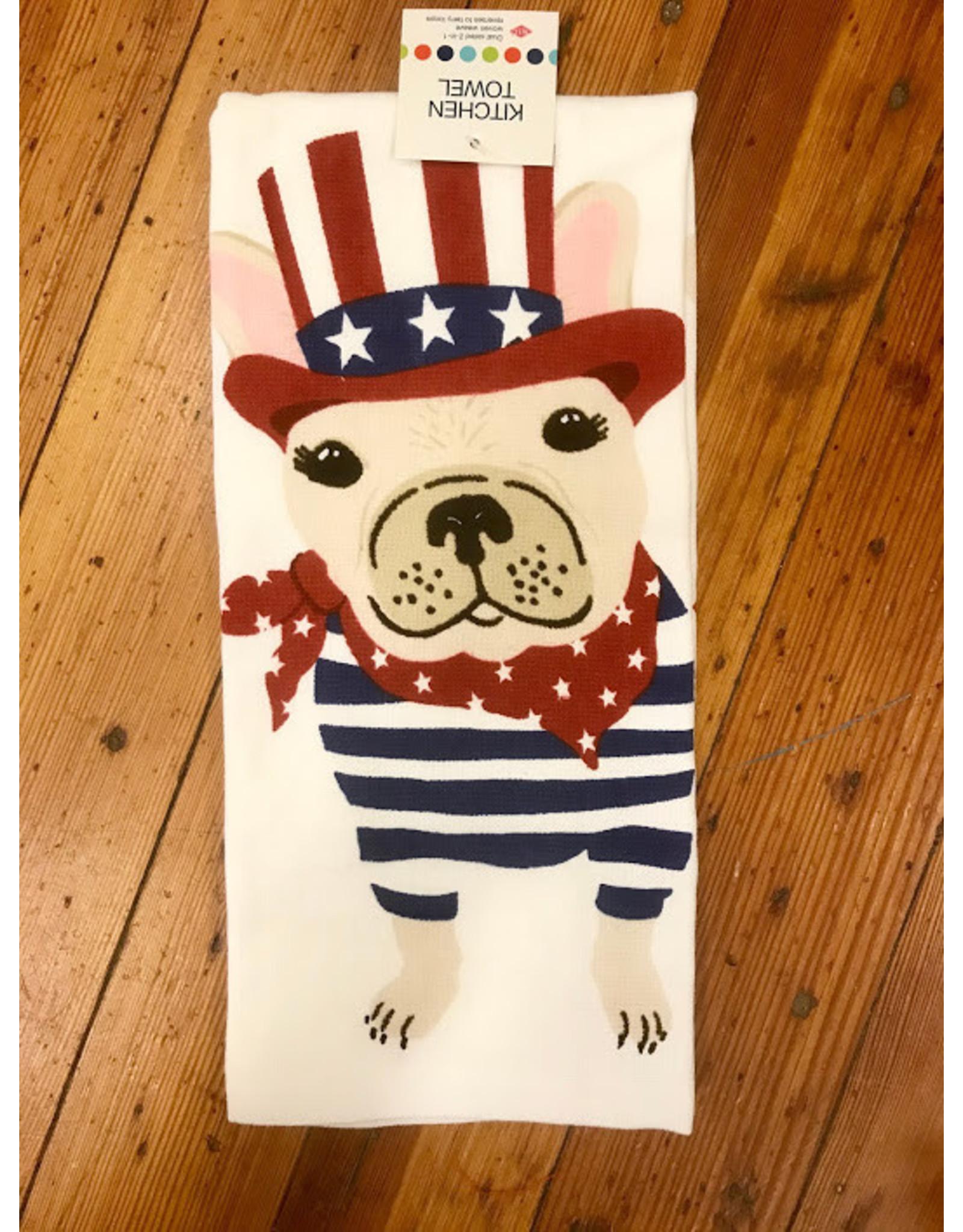 John Ritz Dishtowel, Dual, Patriotic Frenchie