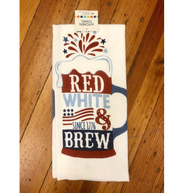 Dishtowel, Dual, Red, White & Brew