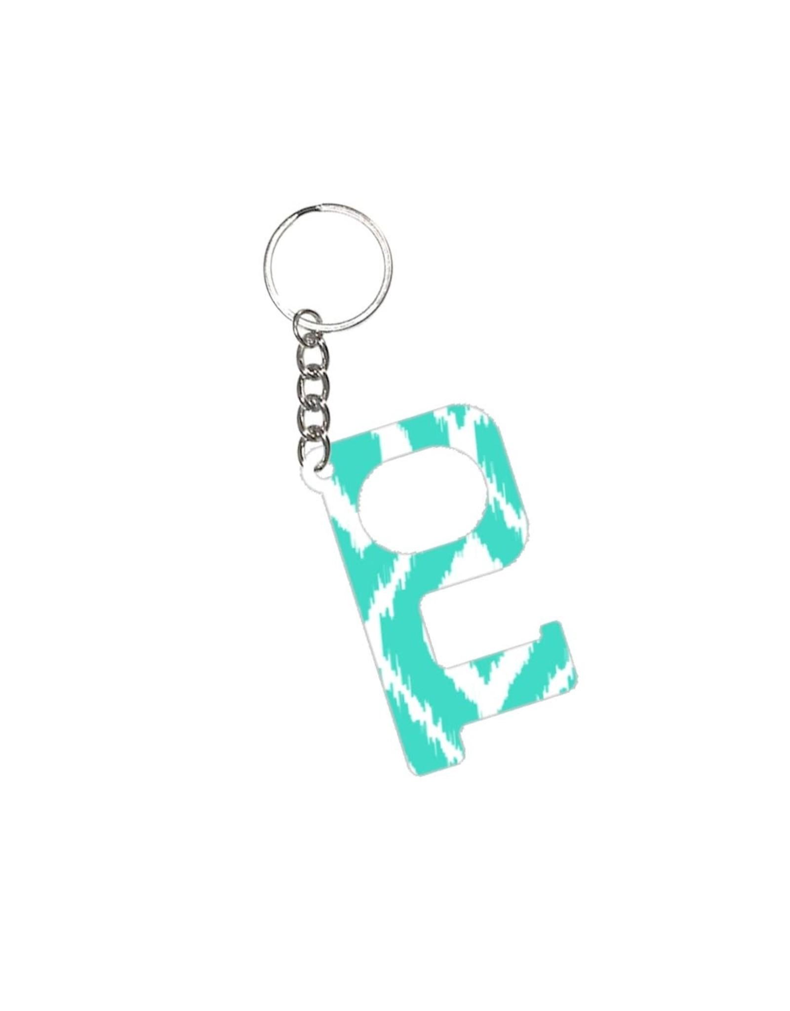 Acrylic Door Key, Aqua Ikat