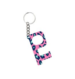Acrylic Door Key, Hot Pink Leopard