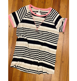 Honey Me Striped Round Neck Top Sm-Lg