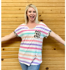 Honey Me Striped/Leopard Print Hi-Lo Top Sm-Lg