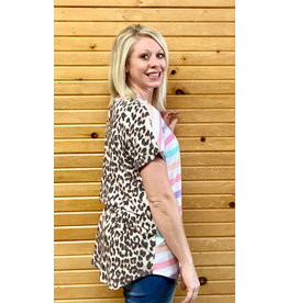 Honey Me Striped/Leopard Print Hi-Lo Top 1xl-3xl