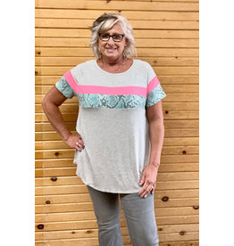 Honey Me Short Sleeve Top w/Snake Stripe