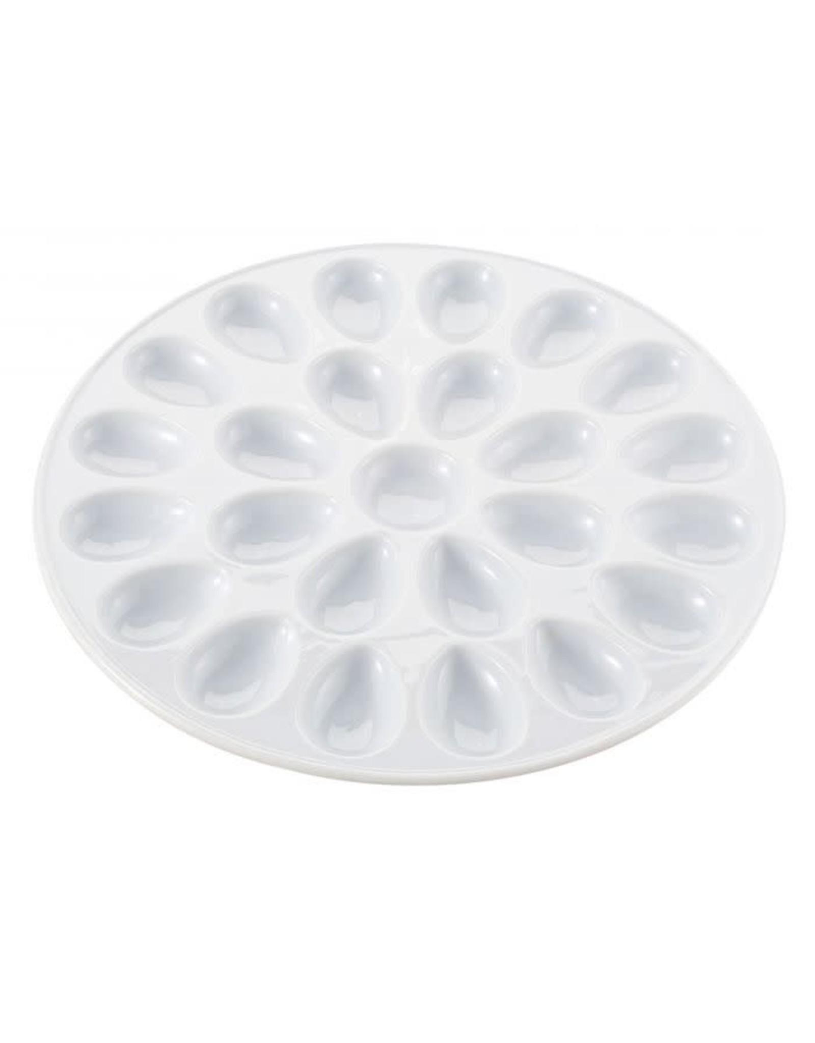 """Porcelain Deviled Egg Plate, White, 13"""""""