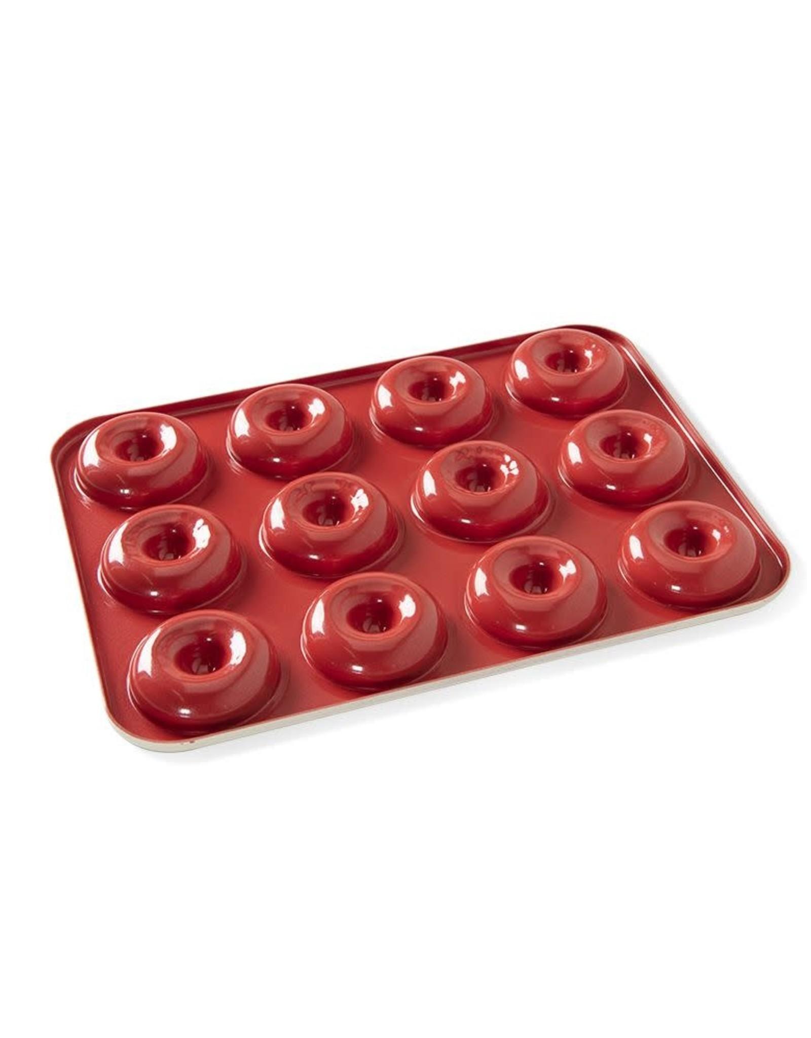 Nordic Ware Mini Donut Pan, Cream/Red, 12 Ct.