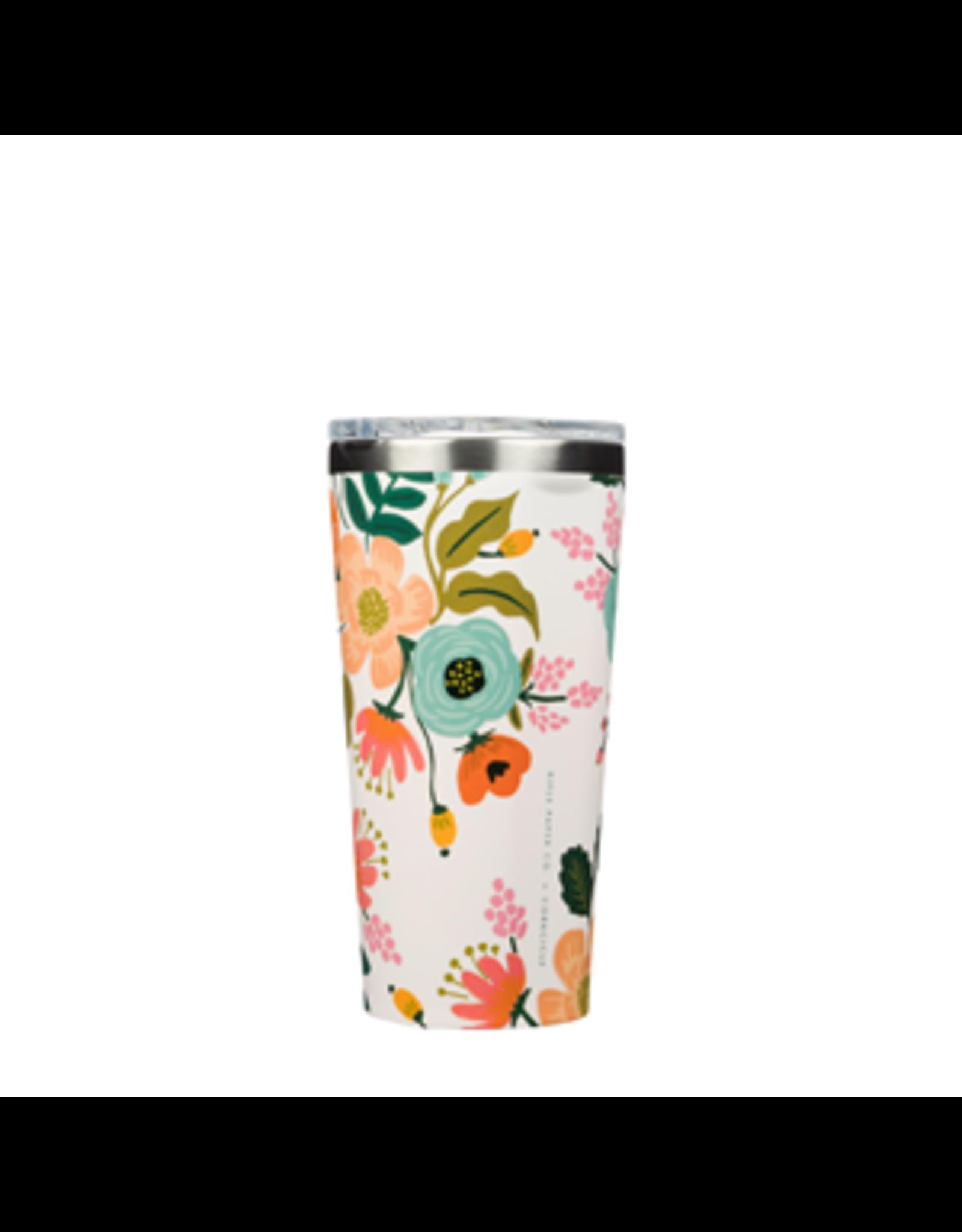 Corkcicle Tumbler, Lively Floral Cream, 16 oz.