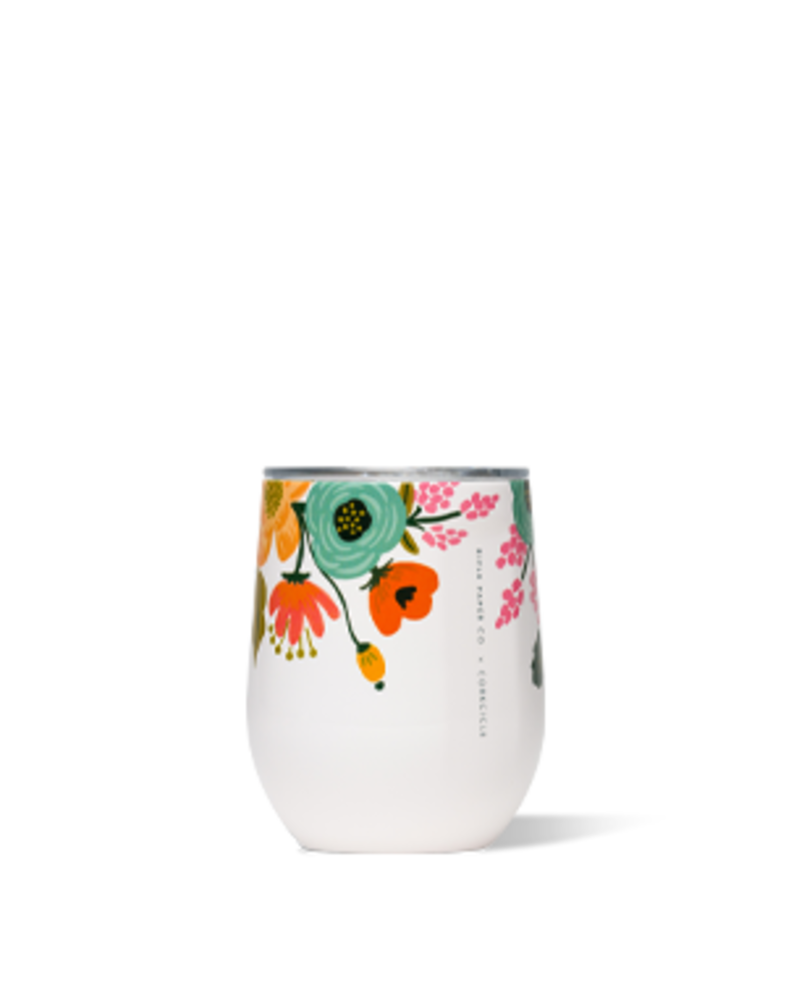 Corkcicle Stemless Tumbler, Lively Floral Cream, 12 oz.