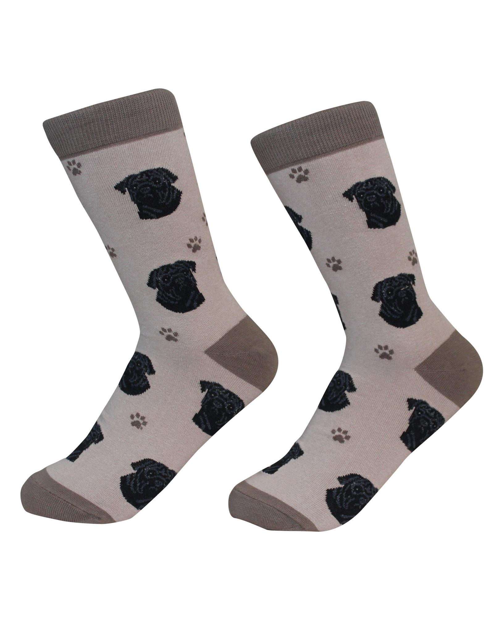 E&S Pets Black Pug Socks