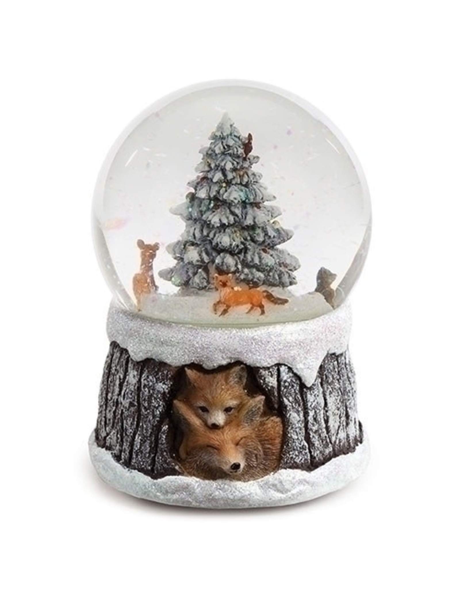 Roman Musical Running Foxes Snow Globe