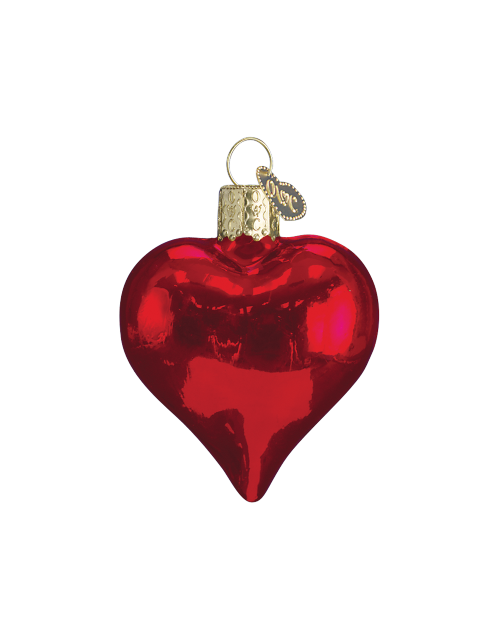 Old World Christmas Shiny Red Heart Ornament