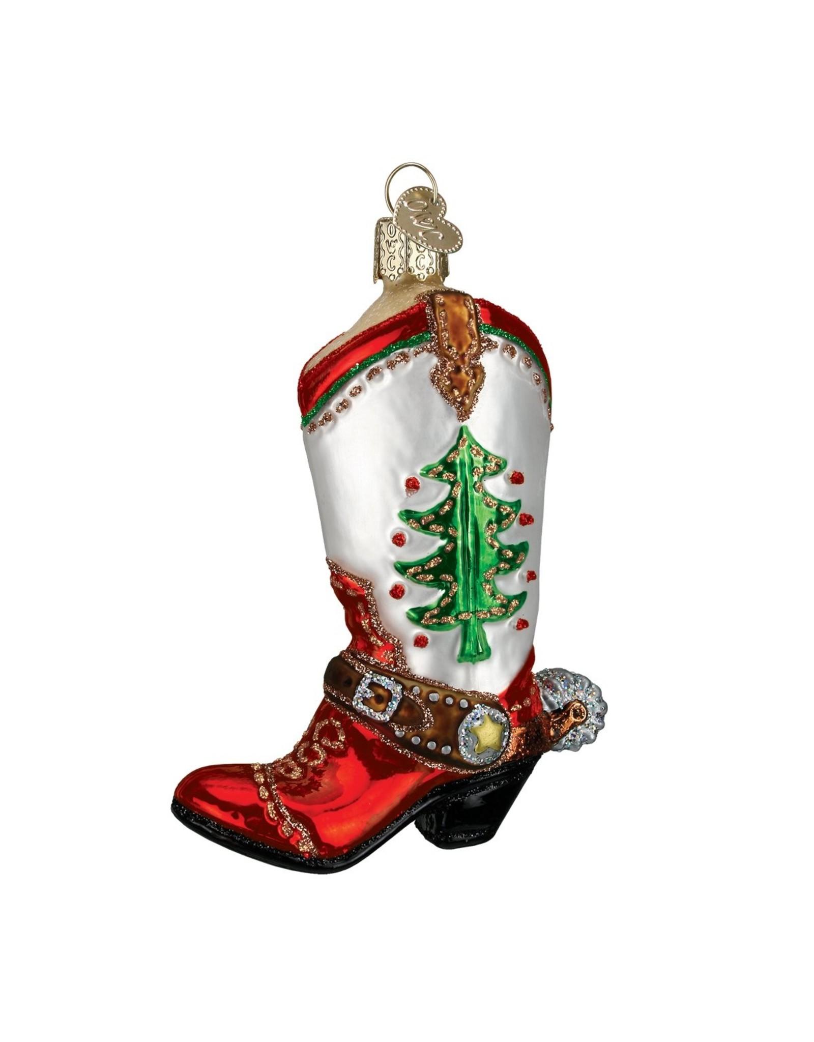 Old World Christmas CHRISTMAS COWBOY BOOT