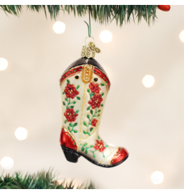 Old World Christmas Christmas Cowgirl Boot Ornament