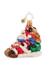 Radko Timely Toboggan Delivery ! Santa Gem