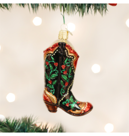 Old World Christmas Holly Berry Cowboy Boot Ornament