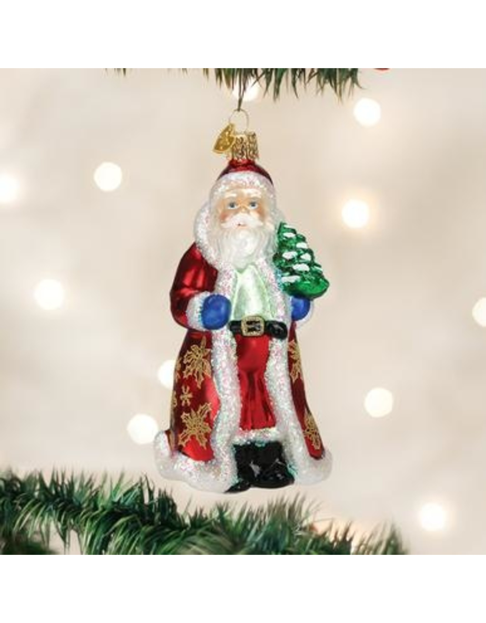 Old World Christmas Glistening Golden Santa Ornament